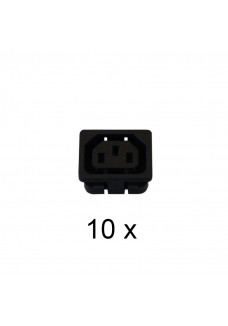 Panel socket for IEC plug, built in. Package of 10 pcs