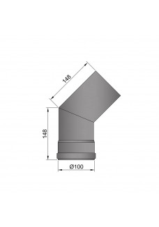 Flue pipe 100mm bend 45 degrees